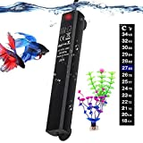 Betta Fish Tank Heater, Mini Submersible 25W Aquarium Heaters Energy-efficient Water Temp Controller Smart Thermostat Warmer for 1-5 Gallon -2 Artificial Plants 1 Stick-on Thermometer Strip Include