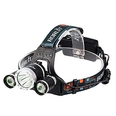 BESTSUN 5000Lumens Headlamp, 4 Modes LED Headlight Flashlight, Outdoor Waterproof Led Camping Headlamp, Portable Work Lights Helmet Lights - 2Pcs Rechargeable Lithium Batteries Included