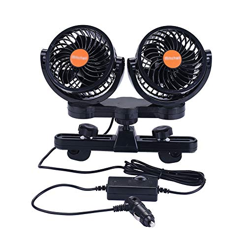 ATMOMO 24V Electric Fan Portable 360 Degree Rotatable Car Fan Dual Head Car Cooling Air Circulator