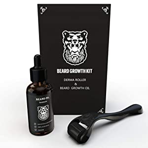 Derma Roller Beard Growth + Beard Growth Organic Oil - Microneedle Roller for Hair Growth Men - Stimulate Beard Growth Kit