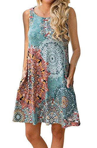 Andaa Women's Summer Floral Printed Casual Tank Shirt Dress Sleeveless Loose Fitted Long Flowy Tunic Tops with Pockets (Color04, XL)