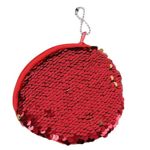 - Durable Key Holder Cluthbag Mermaid Sequins Purse Zipper Wallet Bag Fashion New (Color - Red)