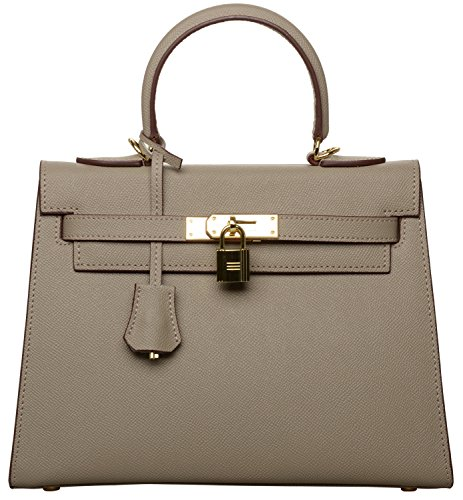 Women's Padlock Handbag Genuine Leather Taiga Top Handle Satchel Bag Cherish Kiss(28CM, Taupe) by Cherish Kiss