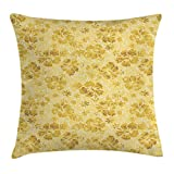 Ambesonne Hawaiian Throw Pillow Cushion Cover, Hibiscus Flowers Pattern Grunge Tropical Beach Theme in Hawaii Nature Picture, Decorative Square Accent Pillow Case, 40 X 40 Inches, Yellow White