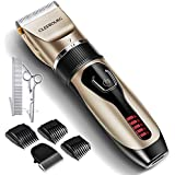 CLEEBOURG Dog Clippers Grooming Kit, Professional Electric Pet Clipper Low Noise Rechargeable Cordless Pet Hair Trimmer for D