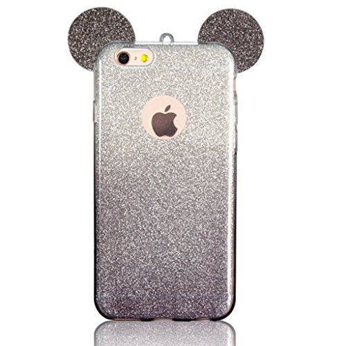 iPhone 6S Case, MC Fashion Cute 3D Glitter Mickey Mouse Ears Soft and Flexible TPU Case for Apple iPhone 6/6S (Black)