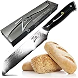 ZELITE INFINITY Bread Knife 8 inch - Alpha-Royal Series - Best Quality Japanese AUS10 Super Steel Damascus 67 Layer High Carbon Stainless Steel -Razor Sharp Serrated Edge, Stain & Corrosion Resistant