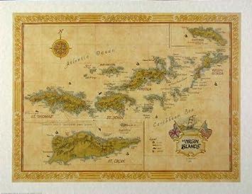 Amazoncom Virgin Islands Map Prints Posters Prints - Us virgin islands on map