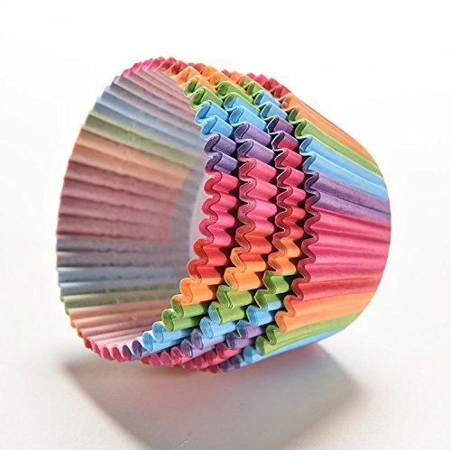 fomccu 100pcs colores del arco iris papel copa de pastel Liners ...
