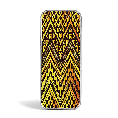 - Pencil Tin Box,Tribal,Pen Case Organizer for School Office Home,Hand Drawn Painted Ethnic Pattern with Zig Zag and Stripes African Geometric Art