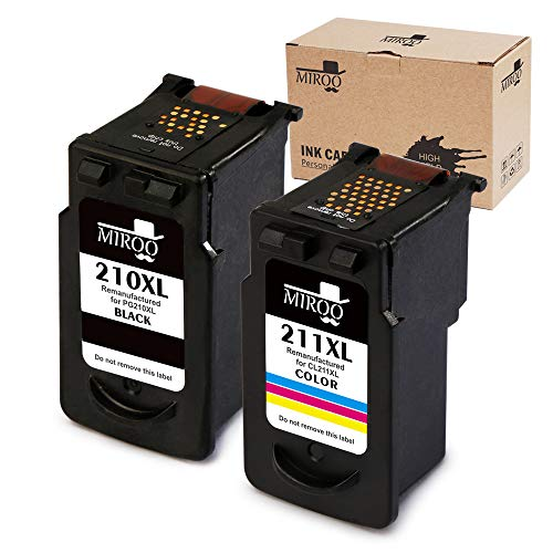 MIROO Remanufactured Canon PG-210XL CL-211XL Ink Cartridge Combo, Use on Canon PIXMA MP495 MP280 MP250 MP490 MP480 IP2702 MP230 MX410 MX420 MX340 MP270 MP240 MX350 MX330 MX320 MP499 IP2700 MX360 MX410