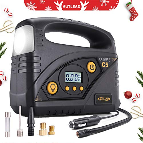 Ac New Air 12v (AUTLEAD Tire Inflator, C5 Portable Air Compressor Pump, 12V 120PSI Digital Tire Pump with Pressure Gauge, 4 Adaptors for Cars, Bicycles, Motorbikes, and Other Inflatables)