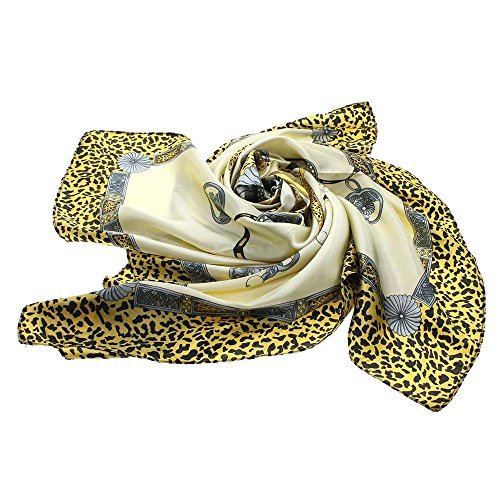 VANKER Women Painting Soft Silk Square Scarves Shawl 90*90cm Leopard watches