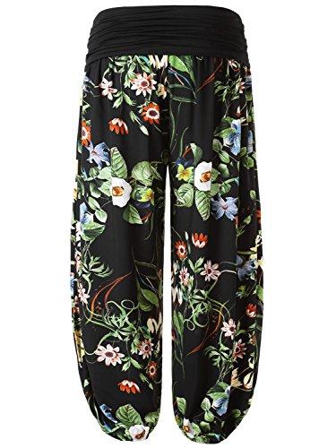 Sarouel Grand Avec Estampillé Taille N4 Élastique Baishenggt Noir Pantalon Femmes 4wqZ5vP