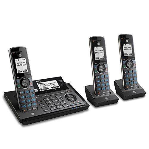 AT&T CLP99387 DECT 6.0 Expandable Cordless Phone with Bluetooth Connect to Cell, Smart Call Blocker and Answering System, Metallic Blue with 3 Handsets (Usb Home Phone)