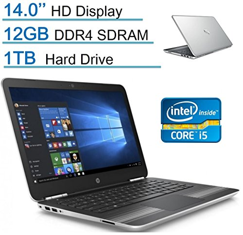 HP Pavilion 14'' HD WLED-backlit Display (1366x768) Laptop PC, Intel Core i5-6200U, 12GB RAM, 1TB HDD, B&O Play, Bluetooth, Backlit Keyboard, Up to 10 hours battery life, Windows 10