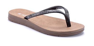 a05ec94313aade Schuhtempel24 Damen Schuhe Zehentrenner Sandalen Sandaletten schwarz flach  Ziersteine