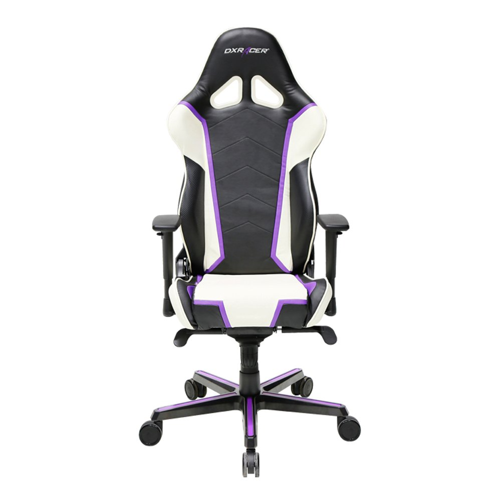 Premium DXRacer Racing Bucket Gaming Chair – Ergonomic & Comfortable – Desk & Executive PVC Chair With Padded Pillows – Color: Black/White/Violet– Series: Racing DOH/RH110/NWV Newedge Edition