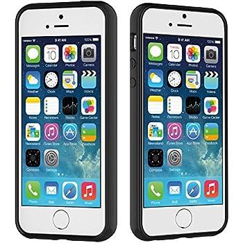 iPhone SE Case, HQTech Apple iPhone SE 5S 5 Case Bumper Cover Shock-Absorption Bumper and Anti-Scratch Clear Back (Black) - 2501