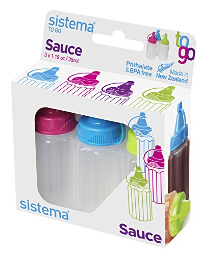 Plastic Bottle Top Collection - Sistema To Go Collection Sauce Container/Squeeze Bottle, 1.1 Ounce each, Assorted Colors, Set of 3