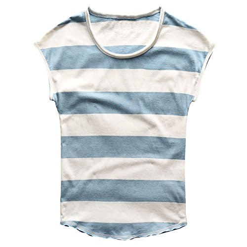 Zecmos Mens Striped T-Shirt Casual Slim Fit Striped Tees Tops Summer 276Blue M