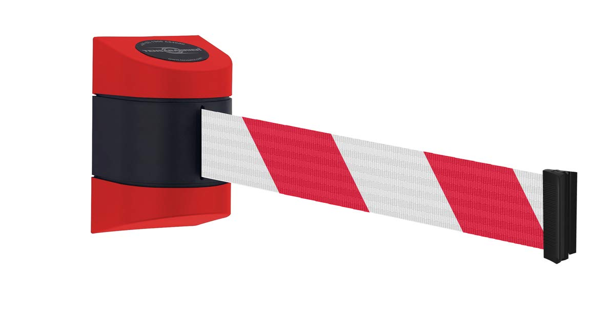 Red and Black Chevron Webbing 4.6m Webbing Standard Fixing Wall Clip Provided Tensabarrier/® Midi Wall Mounted Retractable Barrier Barriers Direct Red Casing
