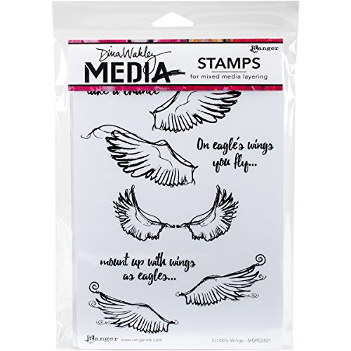 Ranger Scribbly Wings Dina Wakley Media Cling Stamps, 6