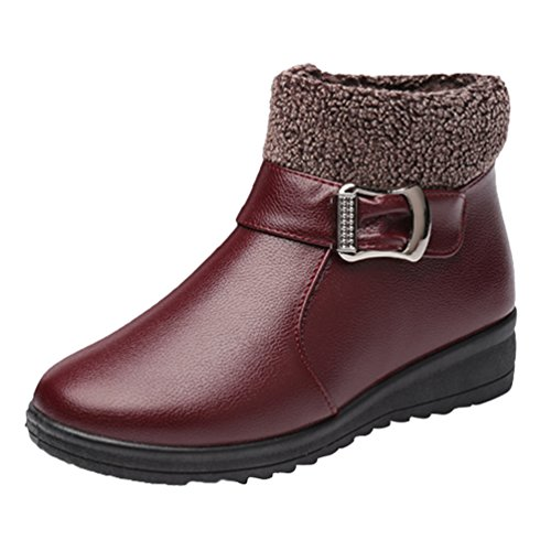 CHENGYANG Damen Schneestiefel Winter Warmer Outdoor Stiefel Faux-Pelz Gefütterte Fläche Schuhe Rot#1