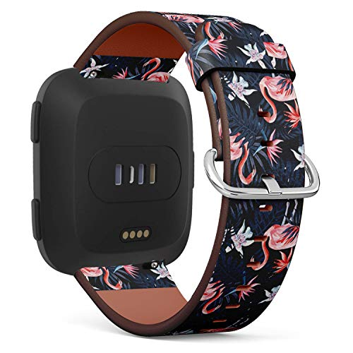 Flamingo Watch Bird - Compatible with Fitbit Versa Leather Watch Wrist Band Strap Bracelet with Quick-Release Pins (Birds Pink Flamingo)