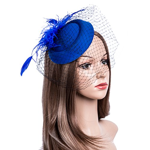 Fascinators Hats 20s 50s Hat Pillbox Hat Cocktail Tea Party Headwear with Veil for Girls and Women (B-Royal Blue) -