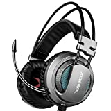 XIBERIA USB Headset with Microphone Surround Stereo Wired PC Gaming Headset Over Ear Headphone for PS4/PC/Laptop (Gray/Black)