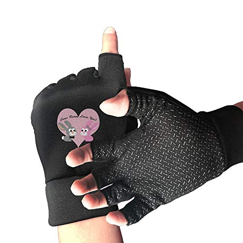 Buecoutes Some Bunny Loves You Sports Half Finger Non-Slip Gloves for Fitness, Cycling, Skateboarding and Climbing in Summer, Black ()