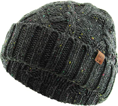 KBW-270 DGY Cuffed Cable Knit Beanie Winter Ski Skull Cap (Best Trawler For The Money)