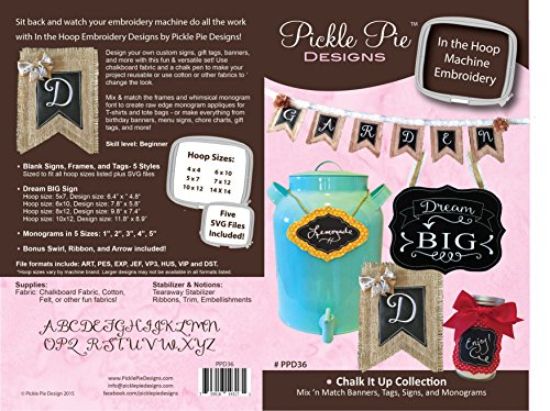 Chalk It Up Collection In the Hoop Machine Embroidery CD by Pickle Pie Designs PPD36 - Gift Tag Embroidery Design
