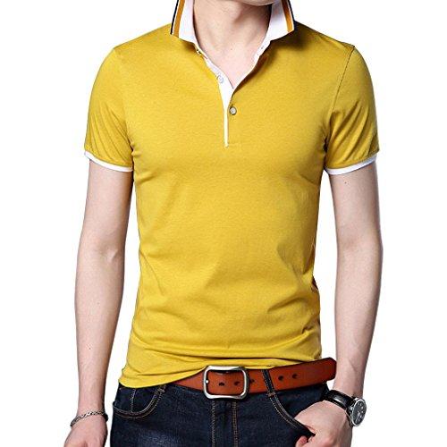 Man de manga para verano corta informal de Acmede amarillo camisa hombres camiseta Polo camisas dXqwYnfFT