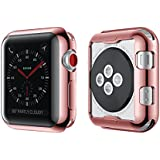 Smiling Apple Watch 3 Case Buit in TPU Screen Protector All-around Protective Case High Defination Clear Ultra-Thin Cover for Apple iwatch 38mm Series 3 and Series 2 (rose-pink, 38mm)