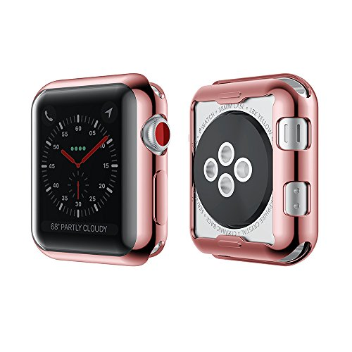 Smiling Apple Watch 3 Case Buit in TPU Screen Protector All-around Protective Case High Definition Clear Ultra-Thin Cover for Apple watch 42mm Series 3 and Series 2 (rose-pink, 42mm)