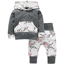 Elogoog Baby Girl 2pcs Set Outfit Flower Print with Hoodies Pocket Splice Top + Pants