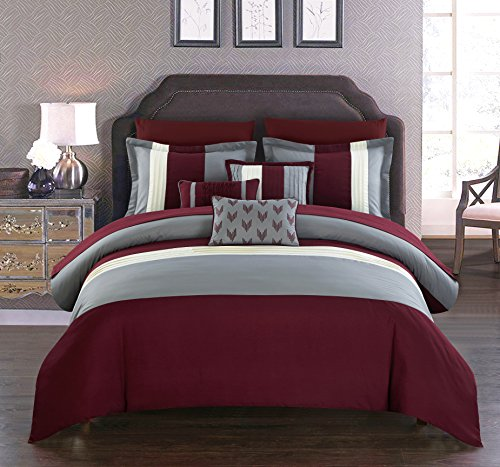 Chic Home Ayelet 10 Piece Comforter Set Color Block Ruffled Bag Bedding, Queen, - A Burgundy Bag In Bed