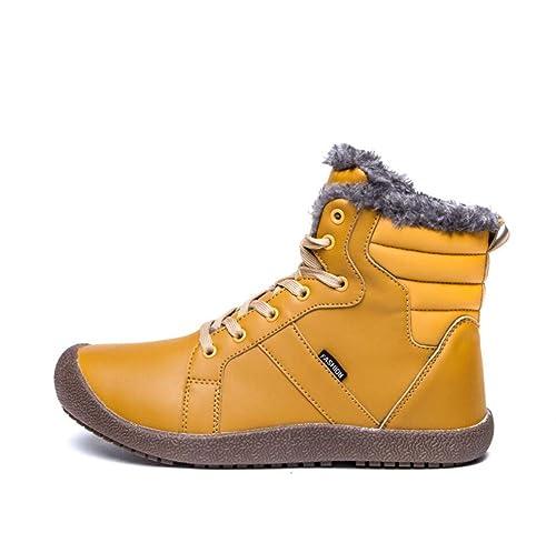 mogeek Botines Hombre Invierno 2018 Zapatos Calientes Forrados Botas con Cordones Nieve Tobillo Boots: Amazon.es: Zapatos y complementos