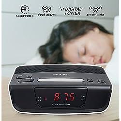 Philips Digital Dual Alarm Clock Radio w/Bonus Plug Adapter Free - 110 220 Volt Use Worldwide