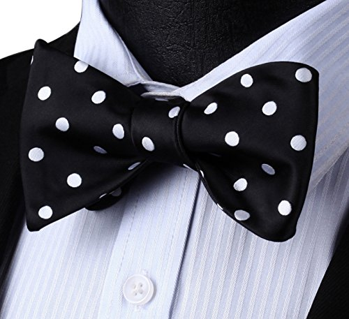 Dot Floral Jacquard Woven Wedding Party Self Bow Tie Set,Black / White,One Size ()