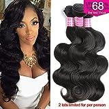 (US) Body Wave Hair Brazilian Virgin Hair 3 Bundles Body Wave Weft 8A Unprocessed Human Hair Weave Extensions Natural Color 3pcs (12 14 16)