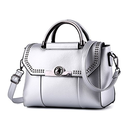 Messenger Bolsa Ms silvery Dama Estilo GUANGMING77 Hombro Bolso Bolsa Plateado qXUW4g
