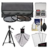 Hoya 58mm 3-Piece Digital Filter Set (HMC UV Ultraviolet, Circular Polarizer & ND8 Neutral Density) with Case + Tripod Kit for Canon, Nikon, Sony, Olympus & Pentax Lenses