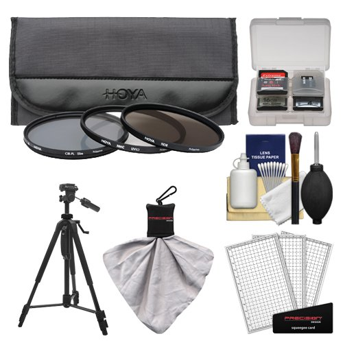 Hoya 58mm 3-Piece Digital Filter Set (HMC UV Ultraviolet, Circular Polarizer & ND8 Neutral Density) with Case + Tripod Kit for Canon, Nikon, Sony, Olympus & Pentax Lenses by Hoya