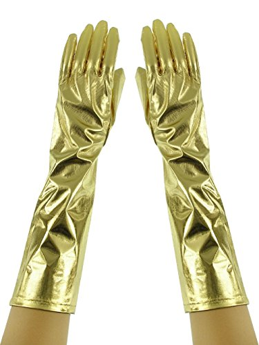 Lame Adult Gloves (Women's Adult Elbow Length Lame Costume Metallic Gloves Gold-Tone)