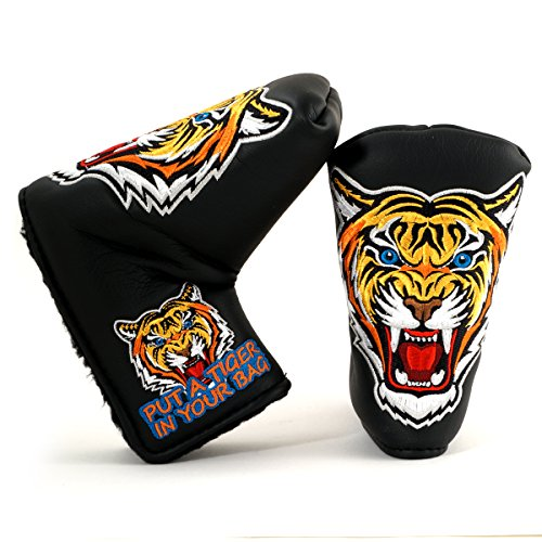 (19th Hole Custom Shop Tiger Golf Headcover for Midsize Mallet Putter, Black)