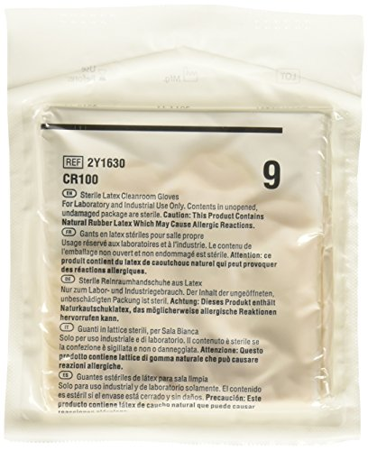Cardinal Health 2Y1630 CR100 Latex Sterile Critical Environment Cleanroom Gloves, Size 9 (Case of 100) by Cardinal Health