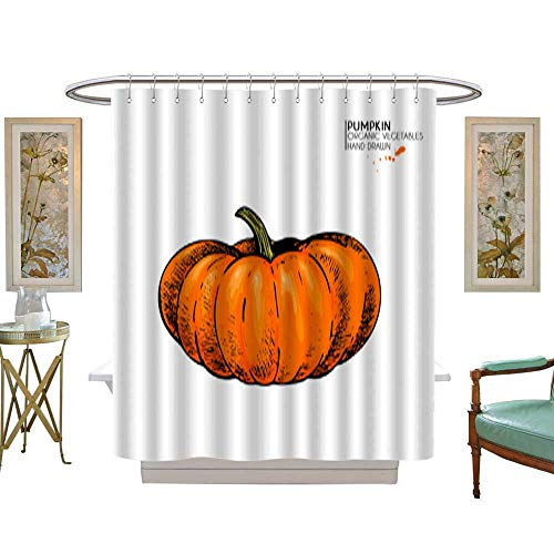 Bathroom Shower Vector Hand Drawn Set of Farm Vegetables Isolated Pumpkin Engraved Colored Art Organic Sketched Vegetarian Objects Use for Restaurant menu Grocery Market Store Party Halloween Thanks for $<!--$51.99-->